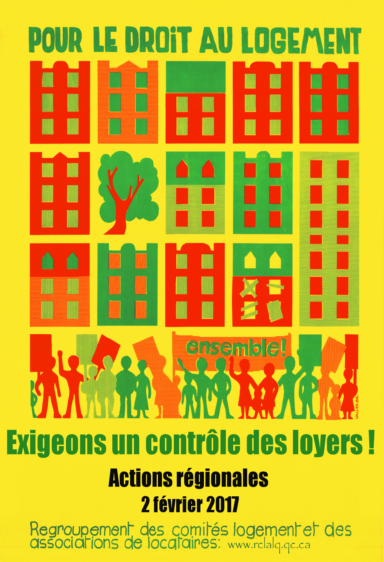 Affiche Bernard Vallé (exigeons un contrôle des loyers) 1982